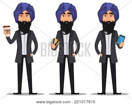 Indian business man cartoon character set. Young handsome businessman in business suit and turban with coffee, with credit cards and with smartphone - stock vector