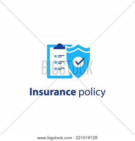 Insurance policy concept, check board and shield, vector line icon