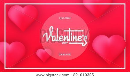 Valentines Day. Banner for Valentine's Day. Valentines background with script lettering and glossy hearts.