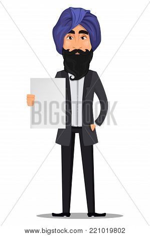Indian business man cartoon character. Young handsome businessman in business suit and turban holding blank placard - stock vector