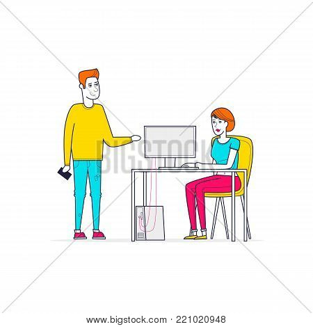 Business characters. Co working people, meeting, teamwork, collaboration and discussion, conference table, brainstorm. Workplace. Office life. Thin Line. Flat design vector illustration.