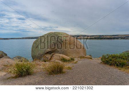 Huge boulders, rocks with sea view. Granite island, South Australia