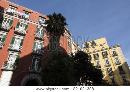 Napoli, Italy - Januery 4Th, 2018: View Of Naples Street And Ancients Building