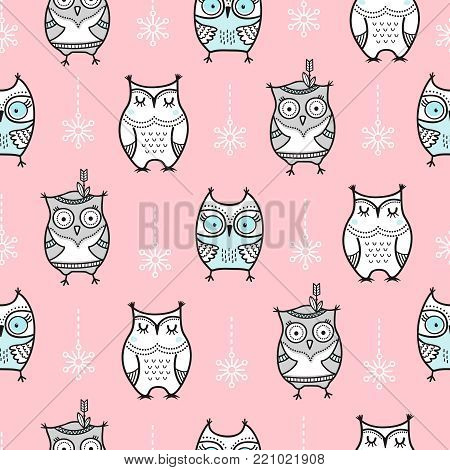 Cute seamless pattern with hand drawn owls. The pattern can be repeated without any visible seams