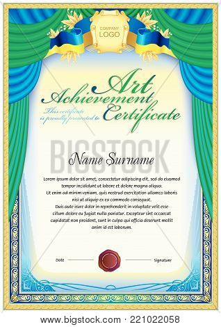 Art achievement certificate blank template. It can be use as print design for honor or award official papers