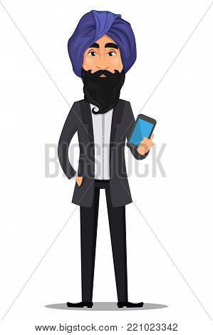 Indian business man cartoon character. Young handsome businessman in business suit and turban holding modern smartphone - stock vector