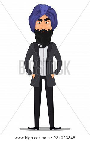 Indian business man cartoon character. Young handsome businessman in business suit and turban standing straight with angry emotion - stock vector