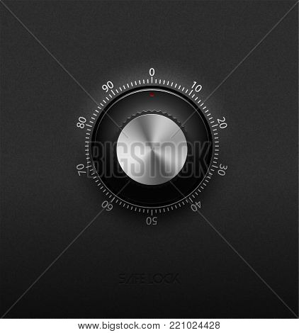 Realistic Combination Safe Lock Metal And Plastic Element On Textured Black Background. Stainless St
