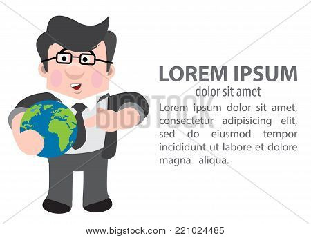 Journalist holding the planet in hand. Vector illustration.