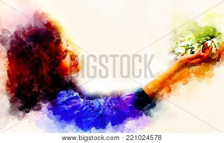 Young poetic woman with flower and softly blurred watercolor background