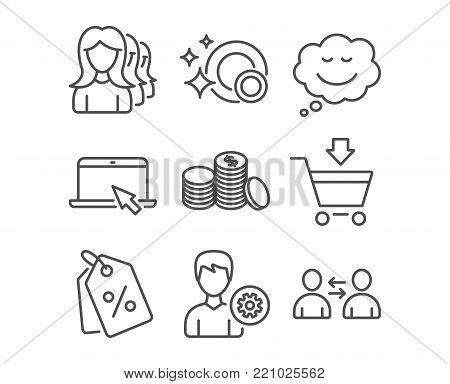 Set of Women headhunting, Discount tags and Banking money icons. Clean dishes, Speech bubble and Support signs. Portable computer, Online market and Communication symbols. Vector