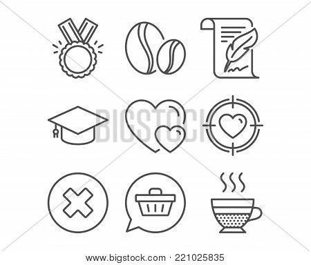Set of Honor, Shopping cart and Graduation cap icons. Hearts, Valentine target and Close button signs. Coffee beans, Feather and Cafe creme symbols. Medal, Dreaming of gift, University. Vector