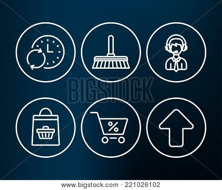 Set of Shipping support, Cleaning mop and Online buying icons. Special offer, Update time and Upload signs. Delivery manager, Sweep a floor, Shopping cart. Discounts, Refresh clock, Load arrowhead