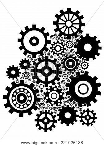 isolated black gears group set on white background