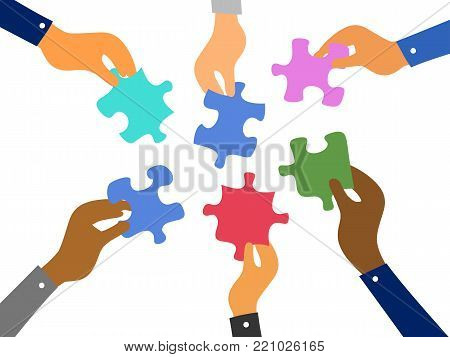 isolated business hands raising jigsaw puzzles pieces on white background