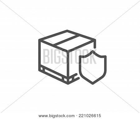 Delivery insurance line icon. Parcels tracking sign. Shipping box symbol. Quality design element. Editable stroke. Vector