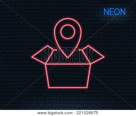 Neon light. Package tracking line icon. Delivery monitoring sign. Shipping box location symbol. Glowing graphic design. Brick wall. Vector