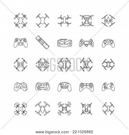 Drones line icons set. Vector illustration of drones and remote control in outline stile. Object for advertising and web