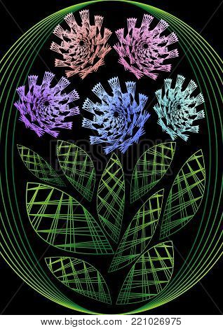 Flower in embroidery design, multicolored fantasy flowers on black background. Unusual flourish decoration. Vector EPS 10