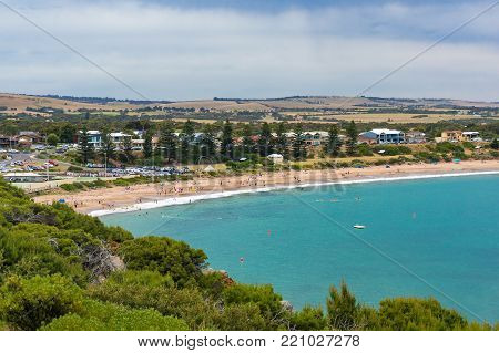 Spectacular view of picturesque bay and beach. Port Elliot, South Australia