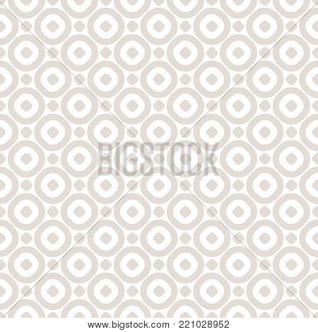 Vector minimalist seamless pattern with simple geometric shapes, hollow circles, dots. Subtle minimalist abstract beige and white background pattern. Delicate geometric repeat texture. Design for decoration, fabric, cloth, web, gift paper