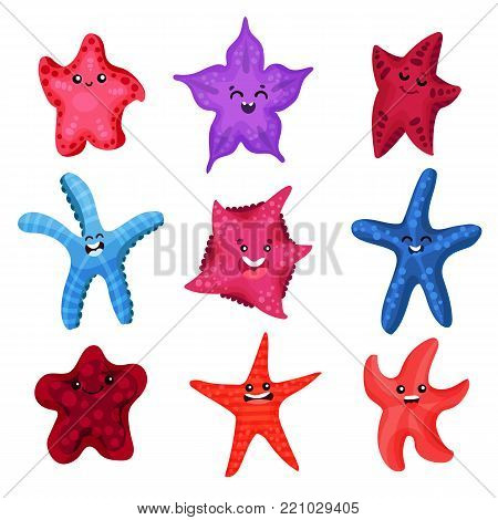 Colourful starfishes set, underwater invertebrate animal cartoon vector Illustrations on a white background