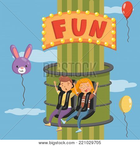 Young people having fun on launched freefall attraction in amusement park vector illustration, colorful design element for poster or banner.