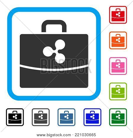 Ripple Accounting Case icon. Flat grey pictogram symbol inside a blue rounded rectangle. Black, gray, green, blue, red, orange color variants of Ripple Accounting Case vector.