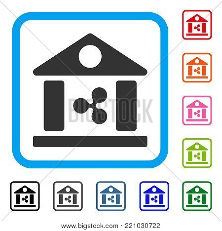 Ripple Bank Building icon. Flat gray pictogram symbol inside a blue rounded square. Black, gray, green, blue, red, orange color variants of Ripple Bank Building vector. Designed for web and app UI.