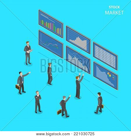 Sock market flat isometric vector concept. People in suits are standing in front of big information boards with some financial data at them.