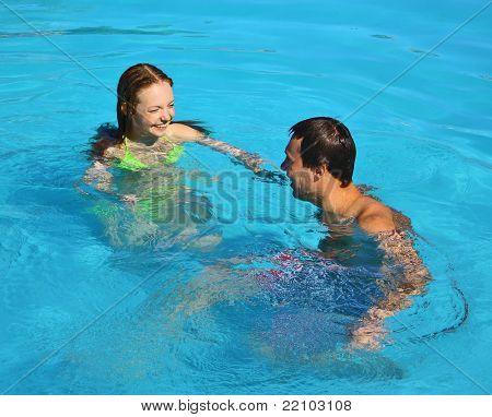 Swimming Romance Honeymoon