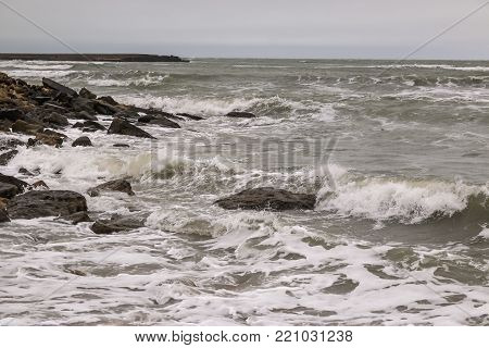 the Northern shore of the Absheron Peninsula. View of the Caspian sea in January.