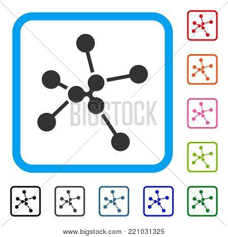 Ripple Links icon. Flat grey pictogram symbol inside a blue rounded squared frame. Black, gray, green, blue, red, orange color variants of Ripple Links vector.
