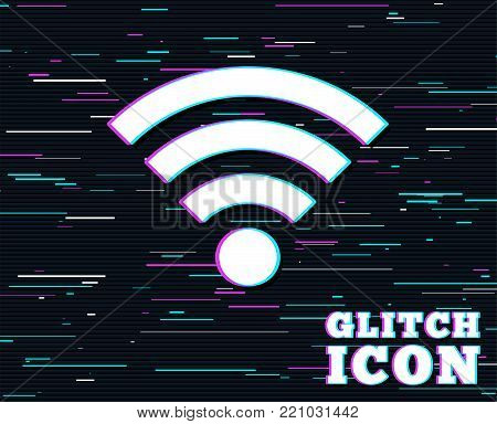 Glitch effect. Wifi sign. Wi-fi symbol. Wireless Network icon. Wifi zone. Background with colored lines. Vector