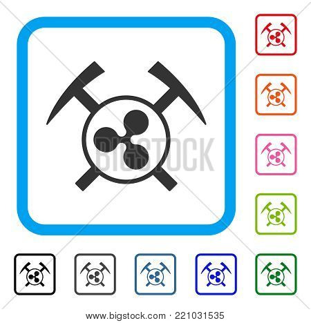 Ripple Mining Hammers icon. Flat grey iconic symbol inside a blue rounded frame. Black, gray, green, blue, red, orange color variants of Ripple Mining Hammers vector. Designed for web and app UI.