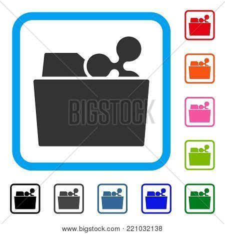 Ripple Folder icon. Flat gray pictogram symbol inside a blue rounded rectangle. Black, gray, green, blue, red, orange color versions of Ripple Folder vector.
