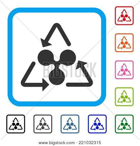Ripple Recycling icon. Flat gray iconic symbol inside a blue rounded rectangular frame. Black, gray, green, blue, red, orange color variants of Ripple Recycling vector.