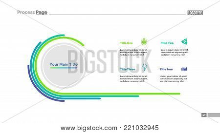 Doughnut chart slide template with four options. Business data. Diagram, comparison, design. Creative concept for infographic, presentation, report. For topics like progress, marketing, analysis