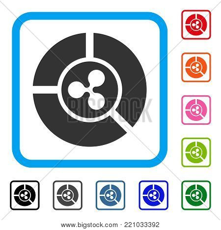 Ripple Diagram icon. Flat gray iconic symbol in a blue rounded rectangular frame. Black, gray, green, blue, red, orange color variants of Ripple Diagram vector. Designed for web and app UI.