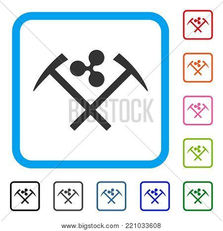 Ripple Mining Hammers icon. Flat grey iconic symbol in a blue rounded squared frame. Black, gray, green, blue, red, orange color versions of Ripple Mining Hammers vector.