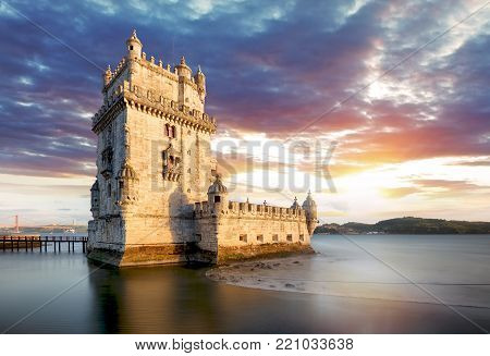 Lisbon, Belem tower at sunset, Lisboa - Portugal
