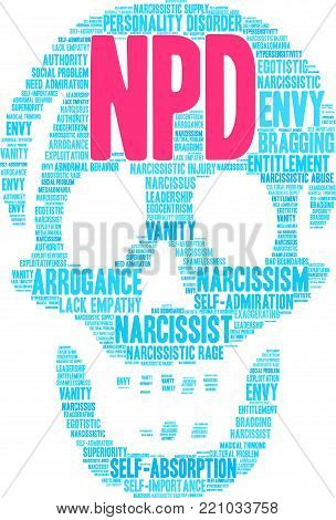 NPD word cloud on a white background. poster