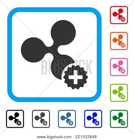 Create Ripple icon. Flat grey pictogram symbol inside a blue rounded square. Black, gray, green, blue, red, orange color additional versions of Create Ripple vector.