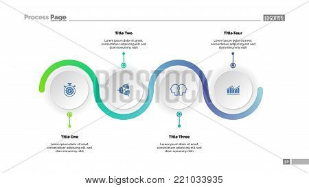 Four step process chart slide template. Business data. Progress, diagram, design. Creative concept for infographic, report, presentation. Can be used for topics like workflow, marketing, management