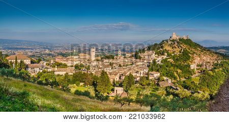 Panoramic view of the historic town of Assisi in beautiful morning light, Umbria, Italy