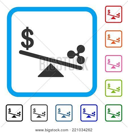 Dollar Ripple Swing Balance icon. Flat gray pictogram symbol inside a blue rounded squared frame. Black, gray, green, blue, red, orange color variants of Dollar Ripple Swing Balance vector.