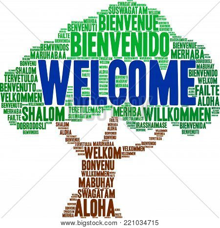 International Welcome Word Cloud. Each Word Used In This Word Cloud Is Another Languages Version Of