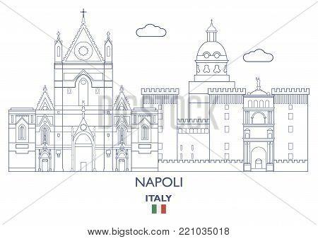 Napoli Linear City Skyline, Italy. Famous city places