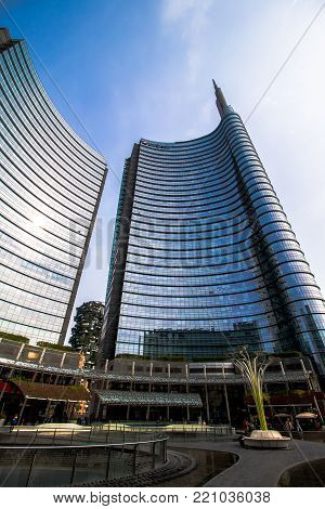 MILAN, ITALY - SEPTEMBER 29, 2017 - some skyscrapers in Piazza Gae Aulenti, Milan. one of this,  The UniCredit Tower is the tallest building in Italy. At 231 metres