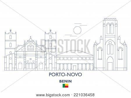 Porto-Novo Linear City Skyline, Benin. Famous city places